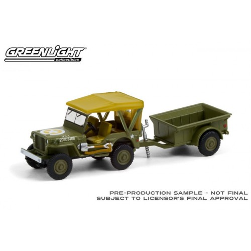Greenlight Hitch and Tow Series 22 - 1943 Willys MB Jeep with Cargo Trailer