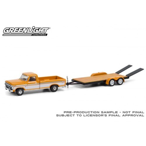 Greenlight Hitch and Tow Series 22 - 1976 Ford F-150 Ranger XLT with Flatbed Trailer