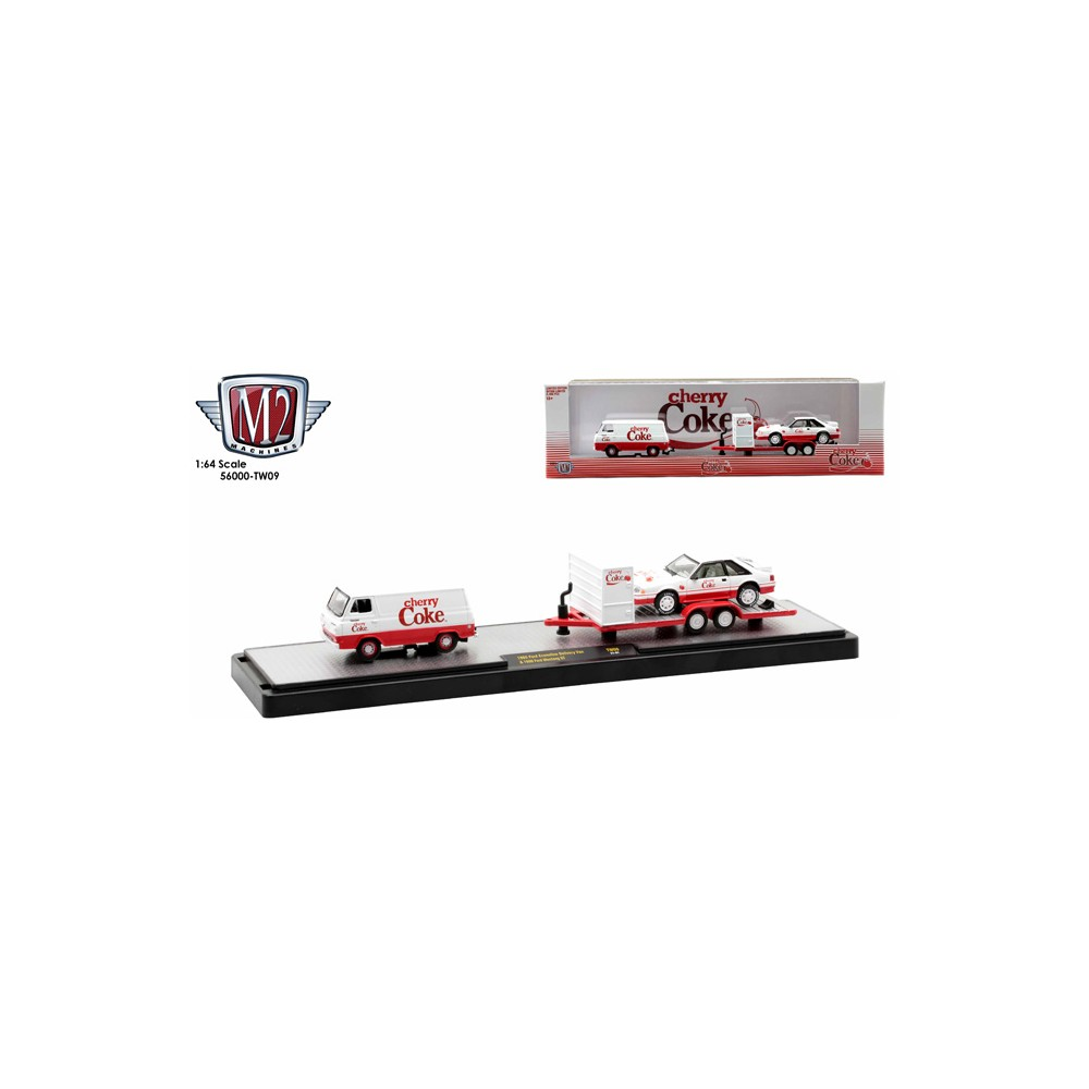 M2 Machines Coca-Cola Haulers Release TW09 - 1965 Ford Econoline Van with 1990 Ford Mustang GT