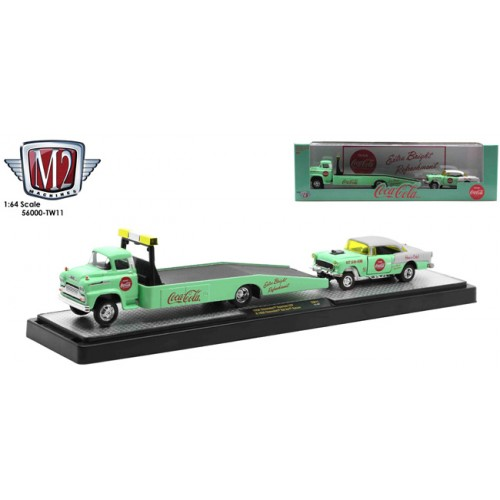 M2 Machines Coca-Cola Haulers Release TW11 - 1958 Chevy Spartan LCF with 1955 Chevy Bel Air Gasser