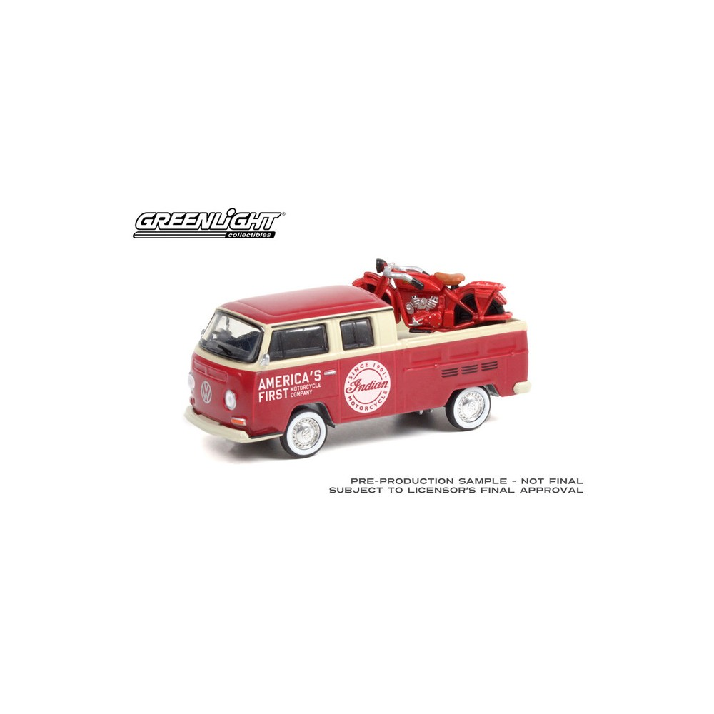 Greenlight Club Vee-Dub Series 13 - 1968 Volkswagen Type 2 Double Cab Pickup with Indian Motorcycle