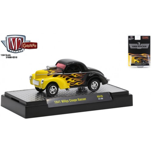 M2 Machines Hobby Exclusive - 1941 Willys Coupe Gasser Black with Flames