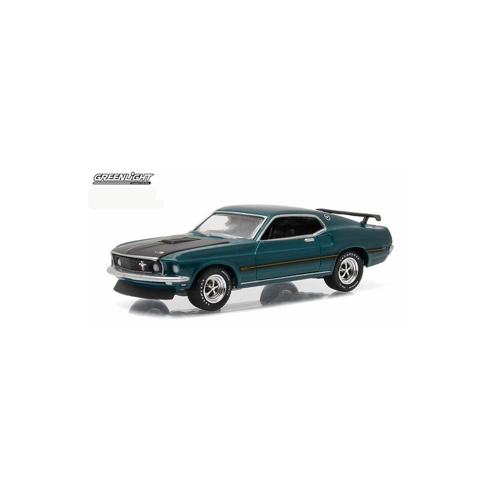 Greenlight Gl Muscle Series 15 1969 Ford Mustang Mach I 1 Gulfstream Aqua